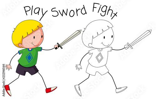Spoed Foto op Canvas Kids Doodle boy play sword fight