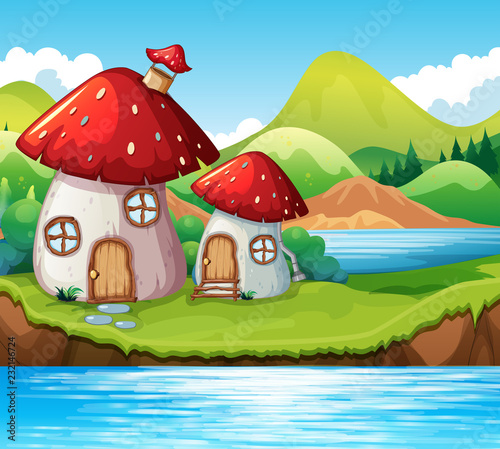 Staande foto Kids Mushroom home by a lake