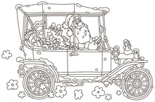 Santa Claus Driving His Car With Christmas Gifts, Black And White Vector Illustration In A Cartoon Style For A Coloring Book