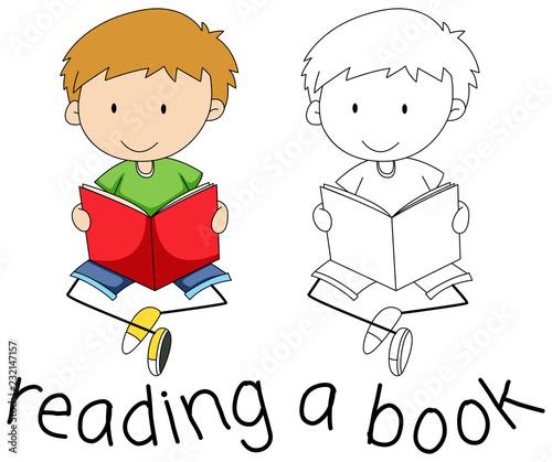 Spoed Foto op Canvas Kids Doodle boy reading a book