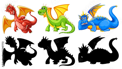 Staande foto Kids Set of dragon character