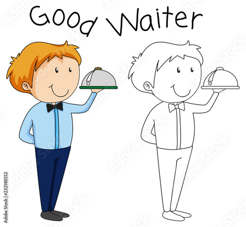Staande foto Kids Doodle waiter character with serving tray