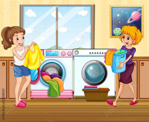 Staande foto Kids Young lady washing clothes