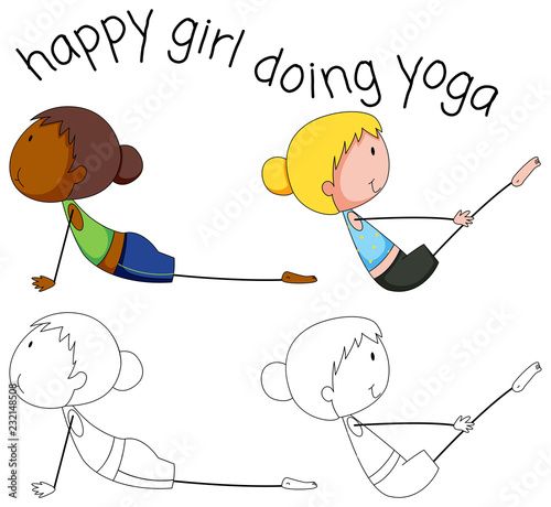 Staande foto Kids Set of doodle yoga girl