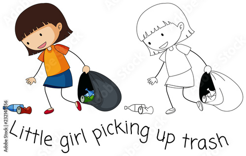 Staande foto Kids Doodle good girl pick up trash