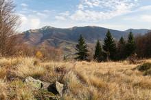 Mountain Landscape Autumn. Mountain With Glade