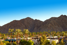 Mountain And Palm Trees View In Indian Wells, California
