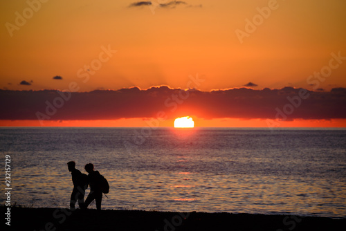 Spoed Foto op Canvas Zee zonsondergang Romantic sunset over the Black Sea