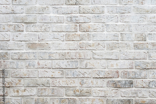 White painted brick wall full frame background with gritty textured imperfection Slika na platnu