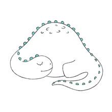 A Doodle Of Cute Sleeping Dino...