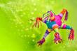 canvas print picture - piñata para cumpleaños y navidad, colorida con luces brillantes, fondo verde y azul con manos de niños y destellos brillantes, en forma de burrito y de picos tradicional con barbas de colores
