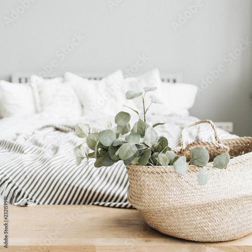Modern apartment interior design. Bed and eucalyptus branch.