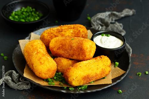 Fototapeta potato croquettes with cheese obraz
