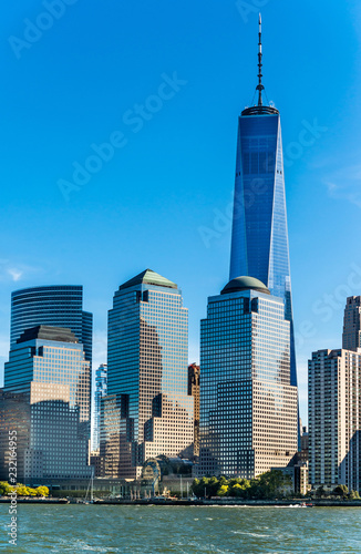 Staande foto Stad gebouw New York City Manhattan skyline with One World Trade Center Tower .