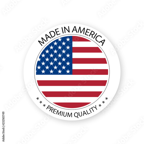 Photographie  Modern vector Made in America label isolated on white background, simple sticker