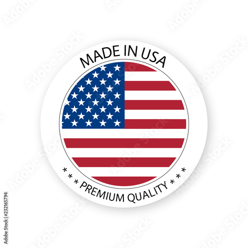 Photographie  Modern vector Made in USA label isolated on white background, simple sticker wit
