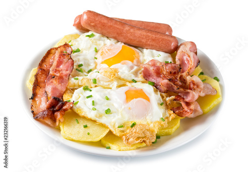 Photo sur Toile Buffet, Bar Huevos con bacon, salchichas y patatas