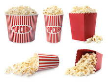 Set With Different Cardboard Containers Of Tasty Popcorn On White Background