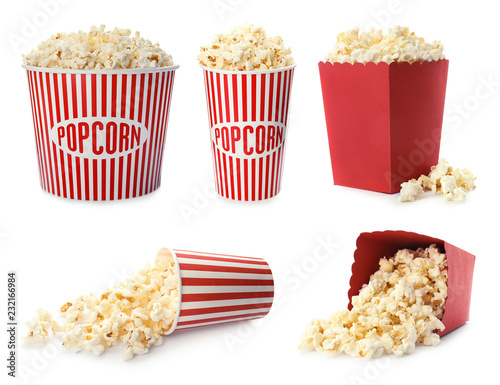 Poster Graine, aromate Set with different cardboard containers of tasty popcorn on white background