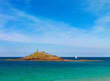 France, France, Cote D'armor, Erquy, Isle Of Saint Michel And Yacht