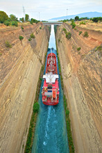Corinth Canal, Corinth, The Peloponnese, Greece, Southern Europe