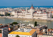Views Towards Danube And Hungarian Parliament From The Fisherman?s Bastion, Budapest, Hungary