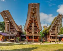 Typical Tongkonan Houses, Rantepao, Tana Toraja, Sulawesi, Indonesia