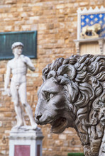 Sculptures In Piazza Della Signoria With A Copy Of The Famous David By Michelangelo In The Background, Florence, Tuscany, Italy, Europe