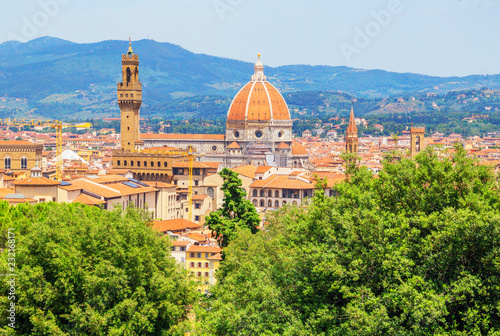 Vew of Cathedral of Saint Mary of the Flower and Palazzo Vecchio from Bardini gardens, Florence, Tuscany, Italy, Europe
