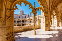Portugal, Lisbon, Santa Maria De Belem. The Gothic Cloister Of The Jeronimos Monastery.