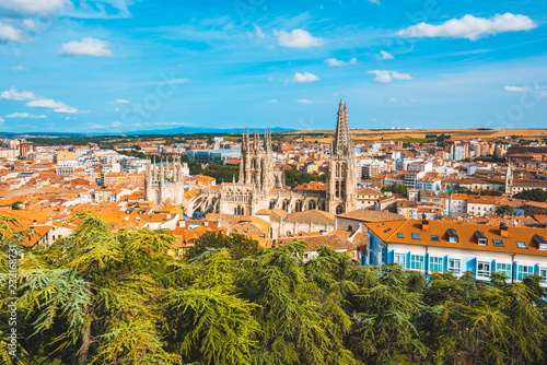 Spain, Castile and Leon, Burgos. Skyline and the gothic Cathedral of Saint Mary of Burgos.