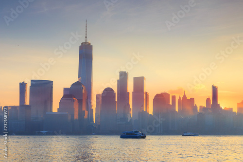 USA, New York, Manhattan, Lower Manhattan and World Trade Center, Freedom Tower, viewed from New Jersey, Jersey City
