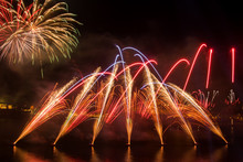 Orange , Purple, Red  And Gold Fireworks During A Firework Festival In Malta, 2018