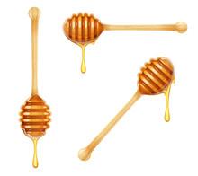 Honey Dipper. Set Of Wooden Sp...