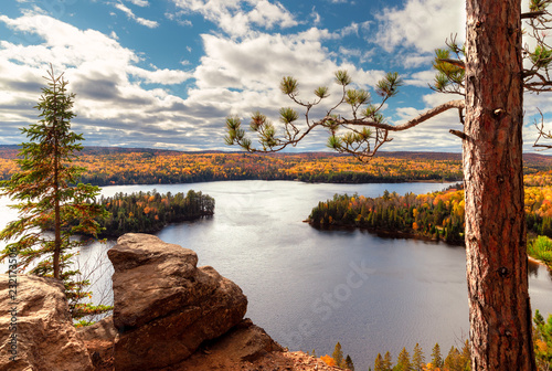 View over Fall forest and lake with colorful trees from above in Algonquin Park, Canvas Print
