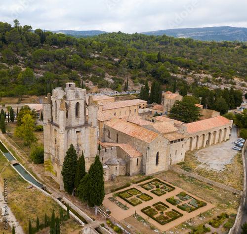 Foto op Aluminium Historisch geb. Aerial view of Castle of Abbey Sainte-Marie d'Orbieu in Lagrasse