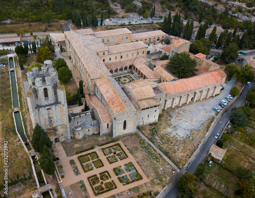 Spoed Foto op Canvas Historisch geb. Aerial view of Castle of Abbey Sainte-Marie d'Orbieu in Lagrasse