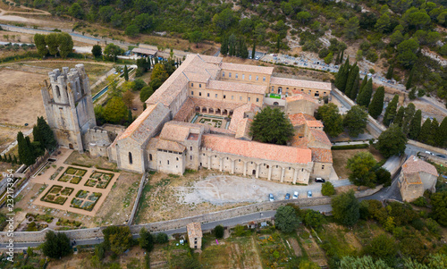 Spoed Foto op Canvas Historisch geb. Aerial view of Castle of Abbey Sainte-Marie d'Orbieu, part of history of Lagrasse