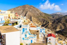 Colorful Houses Of Olympos Village In Mountains Of Karpathos Island, Greece