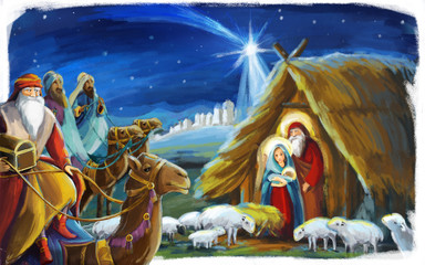 traditional christmas scene with holy family and three kings for different usage - illustration for children