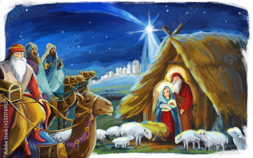 Stampa su Tela traditional christmas scene with holy family and three kings for different usage