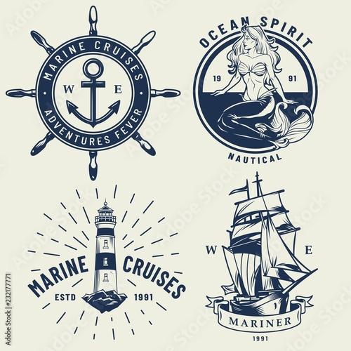 Fotografie, Obraz  Vintage monochrome nautical logos set
