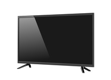 Black LED Tv Television Screen Blank Isolated On White Background
