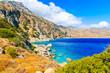 Beautiful sea coast and mountains near Apella beach on Karpathos island, Greece