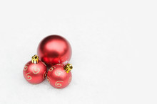 Three Red Baubles In Snow, Christmas Ornaments, Copy Space