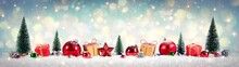 Christmas Vintage Background - Gifts And Tree On Snow With Shiny Background