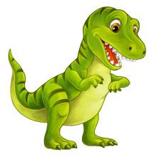 Cartoon Happy And Funny Dinosa...