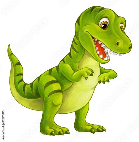 cartoon happy and funny dinosaur - tyrannosaurus - illustration for children