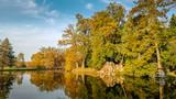 Lake during autumn in Lednice Park, Czech Republic - 232191363