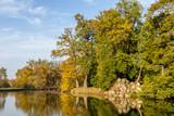 Lake during autumn in Lednice Park, Czech Republic - 232191365